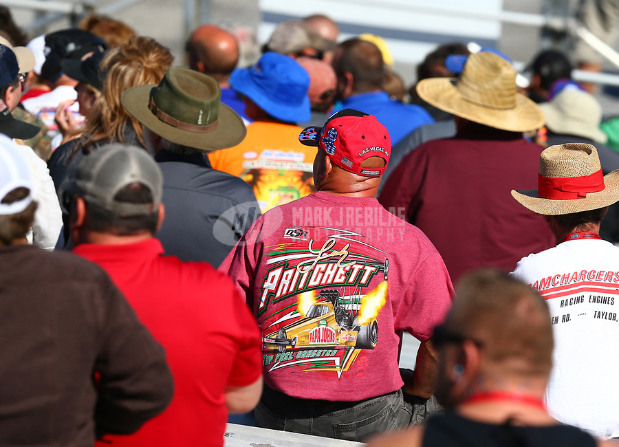 Mar 19, 2017; Gainesville , FL, USA; A fan wears a t-shirt of NHRA top fuel driver Leah Pritchett during the Gatornationals at Gainesville Raceway. Mandatory Credit: Mark J. Rebilas-USA TODAY Sports