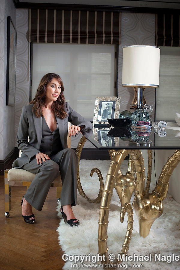 NEW YORK  - JULY 28, 2011:  Tamara Mellon, chief creative office and co-founder of Jimmy Choo, poses for a portrait in her penthouse on July 28, 2011 in New York City.  (Photo by Michael Nagle)