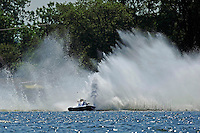 "Frame 2: Kevin Kreitzer, A-64 ""Blue Devil"" hooks in turn 2 and blows some decking off the boat. (2.5 MOD class hydroplane(s)"