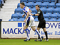 24/10/2009  Copyright  Pic : James Stewart.sct_jspa12_kilmarnock_st_johnstone  . :: KEVIN KYLE RECEIVES A WARNING INSTEAD OF A YELLOW CARD FROM REF ALAN MUIR AFTER HE LEAVES THE FIELD OF PLAY AS HE CELEBRATES SCORING KILMARNOCK'S FIRST :: .James Stewart Photography 19 Carronlea Drive, Falkirk. FK2 8DN      Vat Reg No. 607 6932 25.Telephone      : +44 (0)1324 570291 .Mobile              : +44 (0)7721 416997.E-mail  :  jim@jspa.co.uk.If you require further information then contact Jim Stewart on any of the numbers above.........