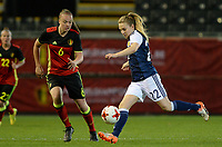 20170411 - LEUVEN ,  BELGIUM : Scottish Fiona Brown pictured with Belgian Tine De Caigny (left) during the friendly female soccer game between the Belgian Red Flames and Scotland , a friendly game in the preparation for the European Championship in The Netherlands 2017  , Tuesday 11 th April 2017 at Stadion Den Dreef  in Leuven , Belgium. PHOTO SPORTPIX.BE | DAVID CATRY