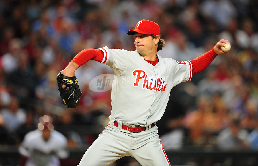 May 5, 2008; Phoenix, AZ, USA; Philadelphia Phillies pitcher Jamie Moyer pitches against the Arizona Diamondbacks at Chase Field. Mandatory Credit: Mark J. Rebilas-