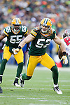 Green Bay Packers linebacker Clay Matthews (52) plays defense during a Week 11 NFL football game against the Tampa Bay Buccaneers on November 20, 2011 in Green Bay, Wisconsin. The Packers won 35-26. (AP Photo/David Stluka)