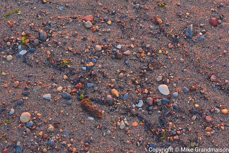 Pebbles on beach at Sunrise along the North Shore of the Gulf of St. Lawrence<br />