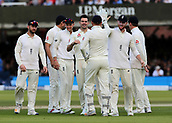 9th September 2017, Lords Cricket Ground, London, England; International test match series, third test, Day 3; England versus West Indies; England Bowler James Anderson celebrates taking the wicket of West Indies Jermaine Blackwood with Ben Stokes, Alastair Cook, Jonny Bairstow and team mates, caught behind by Bairstow