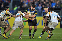 Rob Webber of Bath Rugby takes on the Wasps defence. Aviva Premiership match, between Bath Rugby and Wasps on February 20, 2016 at the Recreation Ground in Bath, England. Photo by: Patrick Khachfe / Onside Images