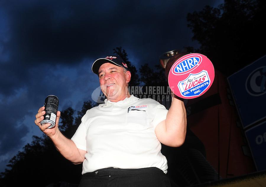 Jun. 19, 2011; Bristol, TN, USA: NHRA super stock driver Mike Saye celebrates after winning the Thunder Valley Nationals at Bristol Dragway. Mandatory Credit: Mark J. Rebilas-