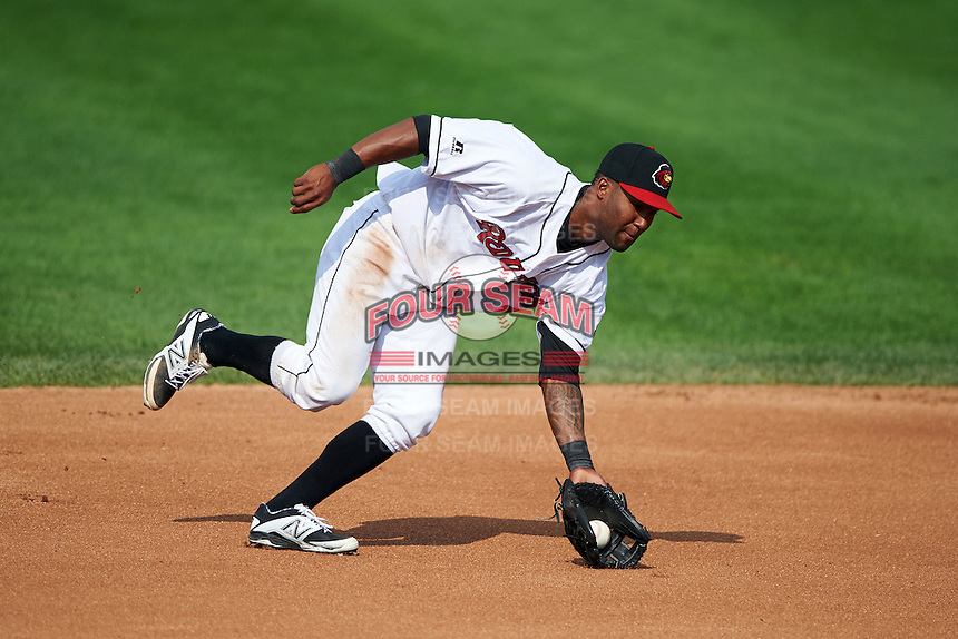 Rochester Red Wings shortstop Danny Santana (1) fields a ground ball during a game against the Indianapolis Indians on June 10, 2015 at Frontier Field in Rochester, New York.  Indianapolis defeated Rochester 5-3.  (Mike Janes/Four Seam Images)