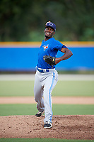 Pitcher Devin Malone (58) delivers a pitch for the Toronto Blue Jays during an Instructional League game against the Pittsburgh Pirates on October 14, 2017 at the Englebert Complex in Dunedin, Florida.  Malone was on a tryout for the Blue Jays.  (Mike Janes/Four Seam Images)