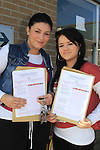 Aoife Dunne and Shauna Finnegan with there Leaving cert result..Picture Fran Caffrey www.newsfile.ie