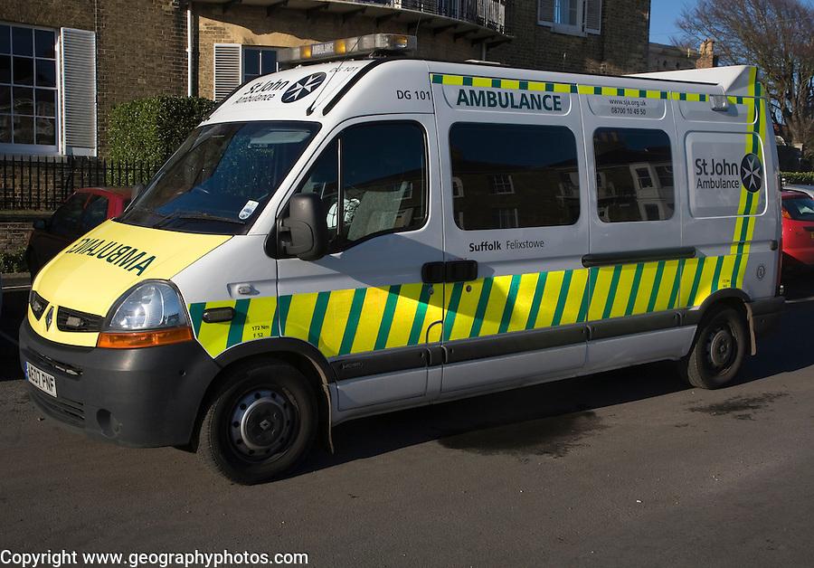 St John ambulance vehicle in the street, Suffolk, England