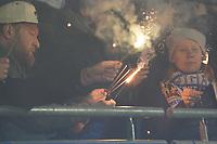 Fans des SV Darmstadt 98 mit Wunderkerzen - 29.10.2019: SV Darmstadt 98 vs. Karlsruher SC, Stadion am Boellenfalltor, 2. Runde DFB-Pokal<br /> DISCLAIMER: <br /> DFL regulations prohibit any use of photographs as image sequences and/or quasi-video.