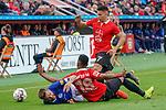 11.05.2019, BayArena, Leverkusen, GER, 1. FBL, Bayer 04 Leverkusen vs. FC Schalke 04 ,<br />  <br /> DFL regulations prohibit any use of photographs as image sequences and/or quasi-video<br /> <br /> im Bild / picture shows: <br /> Guido Burgstaller (FC Schalke #19),  wird von Wendell (Leverkusen #18), Paulinho (Leverkusen #7), in die Mangel genommen <br /> <br /> Foto &copy; nordphoto / Meuter