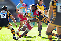 Marland Yarde of Harlequins takes on the Wasps defence. Aviva Premiership match, between Wasps and Harlequins on October 2, 2016 at the Ricoh Arena in Coventry, England. Photo by: Patrick Khachfe / JMP
