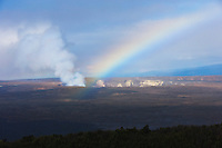 A rainbow highlights the Kilauea Caldera, Halema'uma'u Crater, Hawai'i Volcanoes National Park, Big Island.