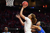 College Park, MD - March 25, 2019: Maryland Terrapins forward Shakira Austin (1) goes up for a layup over UCLA Bruins forward Lajahna Drummer (11) during second round game of NCAAW Tournament between UCLA and Maryland at Xfinity Center in College Park, MD. UCLA advanced to the Sweet 16 defeating Maryland 85-80.(Photo by Phil Peters/Media Images International)