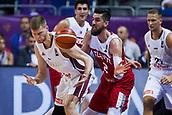 7th September 2017, Fenerbahce Arena, Istanbul, Turkey; FIBA Eurobasket Group D; Latvia versus Turkey; Small Forward Erkan Veyseloglu of Turkey in action against Power Forward Davis Bertans #8 of Latvia