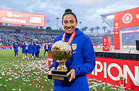 CARSON, CA - FEBRUARY 9: Christen Press #20 of the United States poses with the Golden Ball during a game between Canada and USWNT at Dignity Health Sports Park on February 9, 2020 in Carson, California.