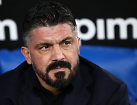 Football, Serie A: S.S. Lazio - Napoli, Olympic stadium, Rome, January 11, 2020. <br /> Napoli's coach Gennaro Gattuso looks on prior to the Italian Serie A football match between S.S. Lazio and Napoli at Rome's Olympic stadium, Rome , on January 11, 2020.<br /> UPDATE IMAGES PRESS/Isabella Bonotto