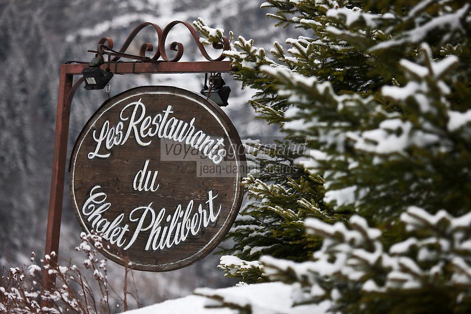 Europe/France/Rhône-Alpes/74/Haute Savoie/Morzine: Restaurant: Le Chalet  Philibert - Détail de l'enseigne