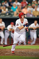 Memphis Redbirds catcher Carson Kelly (19) runs to first base during a game against the Round Rock Express on April 28, 2017 at AutoZone Park in Memphis, Tennessee.  Memphis defeated Round Rock 9-1.  (Mike Janes/Four Seam Images)