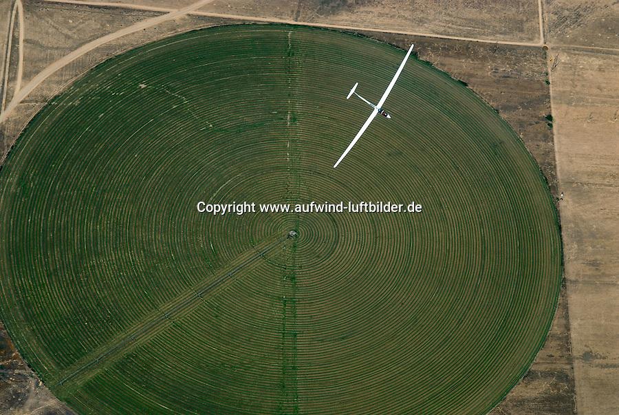 4415 / Einkreisen: AMERIKA, VEREINIGTE STAATEN VON AMERIKA, UTAH,  (AMERICA, UNITED STATES OF AMERICA), 24.07.2006:doppelsitziges Segelflugzeug vom Typ ASH 25 ueber einem runde, Feld, Bewaesserung, Futtermittel, Gras, Heu, Viehfutter, in der Wueste von Utah wird Viehfutter erzeugt,  kreisen, zentrieren, steigen, Aufwind