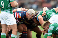 Colin Quigley of Doncaster Knights prepares to scrummage against his opposite number. Pre-season friendly match, between Doncaster Knights and Newcastle Falcons on August 25, 2018 at Castle Park in Doncaster, England. Photo by: Patrick Khachfe / Onside Images
