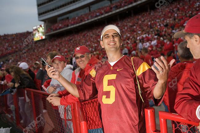 Fans at the University of Nebraska vs. The University of Southern California football game. Lincoln, Nebraska, September 15, 2007.