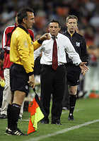 9 April 2005. DC United head coach Peter Nowak questions the referee's call while playing the Chicago Fire  at RFK Stadium in Washington, DC.