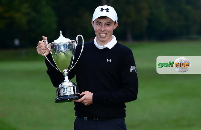 Matthew Fitzpatrick of England poses with the trophy following his victory during Round 4 of the 2015 British Masters at the Marquess Course, Woburn, in Bedfordshire, England on 11/10/15.<br /> Picture: Richard Martin-Roberts | Golffile