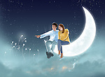 Illustrative image of couple sitting on half moon against night sky