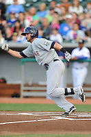 Huntsville Stars right fielder Mitch Haniger #4 runs to first during a game against Tennessee Smokies at Smokies Park on April 25, 2014 in Kodak, Tennessee. The Stars defeated the Smokies 15-1. (Tony Farlow/Four Seam Images)