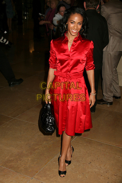 JADA PINKETT SMITH.79th Annual Academy Awards Nominees Luncheon at the Beverly Hilton Hotel, Beverly Hills, California, USA..February 5th, 2007.full length red satin shirt dress black bag purse.CAP/ADM/BP.©Byron Purvis/AdMedia/Capital Pictures