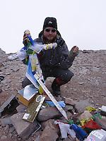 Toppen av Aconcagua. ---- Aconcagua summit.
