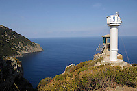 Isola di Gorgona. Il faro di Cala Martina..Gorgona island.The lighthouse of Cala Martina.