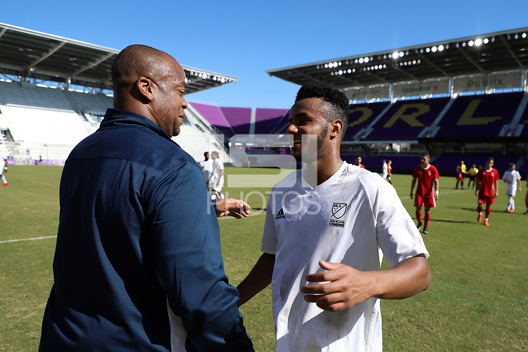 Orlando, Florida - Wednesday January 17, 2018: Mo Adams and Bo Oshoniyi. Match Day 3 of the 2018 adidas MLS Player Combine was held Orlando City Stadium.