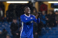 Kurt Zouma of Chelsea is all smiles after Chelsea's 13-12 penalty shootout win as a record 34 spot-kicks are taken during the The Checkatrade Trophy match between Chelsea U23 and Oxford United at Stamford Bridge, London, England on 8 November 2016. Photo by Andy Rowland.
