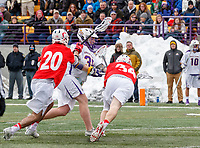University at Albany Men's Lacrosse defeats Cornell 11-9 on Mar 4 at Casey Stadium.  Sean Eccles (#38) scores the tying goal late in the game.