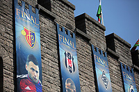Pictured: A series of UEFA banners draped outside Cardiff Castle Thursday 25 May 2017<br />Re: Preparations for the UEFA Champions League final, between Real Madrid and Juventus in Cardiff, Wales, UK.