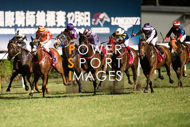 #11 Derek Leung Ka-chun (C) riding Generous Heart during the race 7 of Hong Kong Racing at Happy Valley Race Course on November 08, 2017 in Hong Kong, China. Photo by Marcio Rodrigo Machado / Power Sport Images