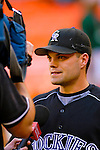 13 June 2006: Jamey Carroll, infielder for the Colorado Rockies, talks to the media prior to a game against the Washington Nationals at RFK Stadium, in Washington, DC. The Rockies defeated the Nationals 9-2 in the second game of the four-game series...Mandatory Photo Credit: Ed Wolfstein Photo..