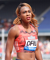 Cindy Ofili of Great Britain after competing in the Women's 100m Hurdles during the Muller Grand Prix  IAAF Diamond League meeting at Alexander Stadium, Perry Barr, Birmingham.<br /> Picture by Alan Stanford +44 7915 056117<br /> 18/08/2018