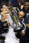 20 November 2011: Los Angeles captain Landon Donovan kisses the Philip F. Anschutz championship trophy. The Los Angeles Galaxy defeated the Houston Dynamo 1-0 at the Home Depot Center in Carson, CA in MLS Cup 2011, Major League Soccer's championship game.