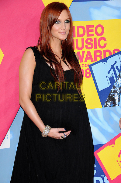 ASHLEE SIMPSON.The 2008 MTV Video Music Awards held at Paramount Studios in Hollywood, California, USA..September 7th, 2008.VMA Vmas half length black long draped dress bump pregnant bracelets Simpson Wentz .CAP/DVS.©Debbie VanStory/Capital Pictures.