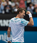 Tomas Berdych (CZE) defeats Rafael Nadal (ESP) 6-2, 6-0, 7-6 at the Australian Open being played at Melbourne Park in Melbourne, Australia on January 27, 2015