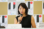 Akiyo Noguchi, <br /> AUGUST 7, 2015 : <br /> International Federation of Sport Climbing (IFSC) <br /> holds a media conference following its interview <br /> with the Tokyo 2020 Organising Committee in Tokyo Japan. <br /> (Photo by YUTAKA/AFLO SPORT)