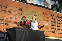 SPEED SKATING: SALT LAKE CITY: 21-11-2015, Utah Olympic Oval, ISU World Cup, 1500m Ladies, Heather Richardson-Bergsma (USA), World Record: 1.50,85, ©foto Martin de Jong