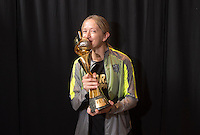 Los Angeles, California - July 7, 2015:  The USWNT poses with the FIFA Women's World Cup trophy.