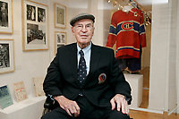 Montreal (qc) CANADA - October 2008 -<br /> Emile &quot;<br /> Butch &quot; Bouchard, Montreal Canadien Hockey Legend<br /> visit an exbition at L'ecomusee du Fiers Monde on Amherst Street in Montreal