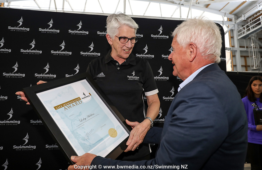 Swimming NZ Life Membership Awarded to Leslie Huckins. New Zealand Short Course Swimming Championships, National Aquatic Centre, Auckland, New Zealand, Wednesday 2nd October 2019. Photo: Simon Watts/www.bwmedia.co.nz/SwimmingNZ